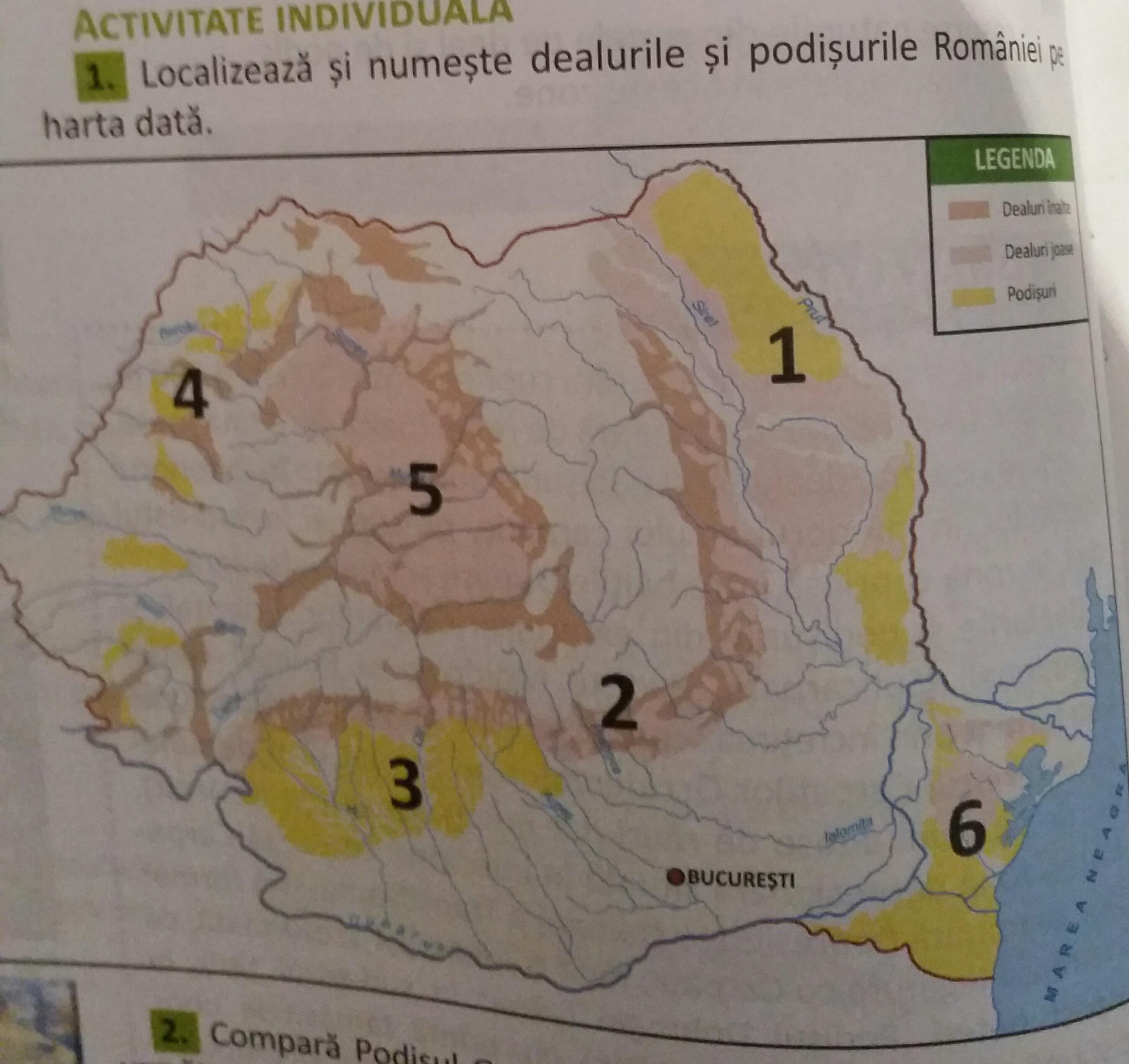 Localizeaza Si Numeste Dealurile Si Podisurile Romaniei Pe Harta