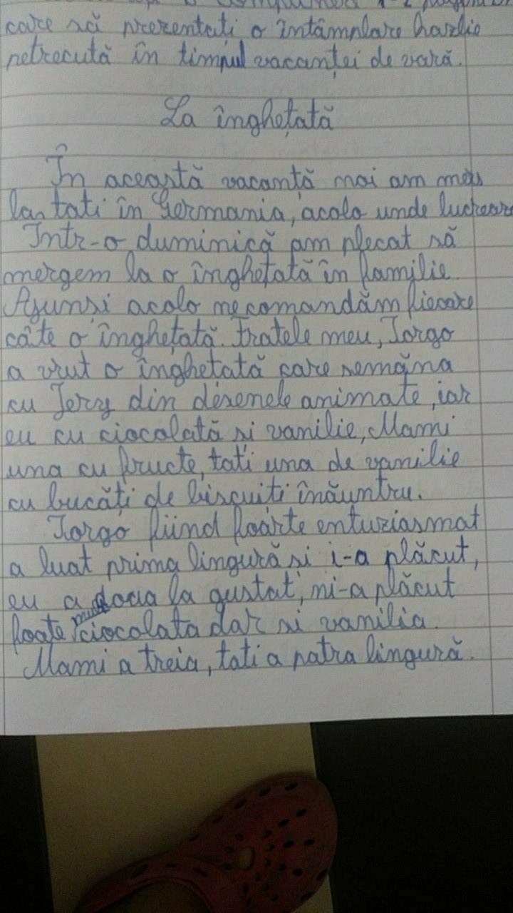 Compunere despre o intamplare din vacanta de vara in engleza