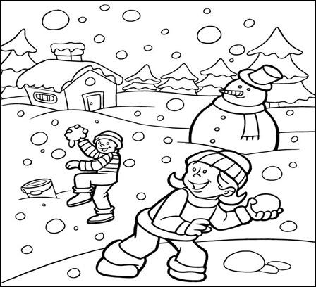 Fise Colorat Cu Jocurile Copiilor Iarna