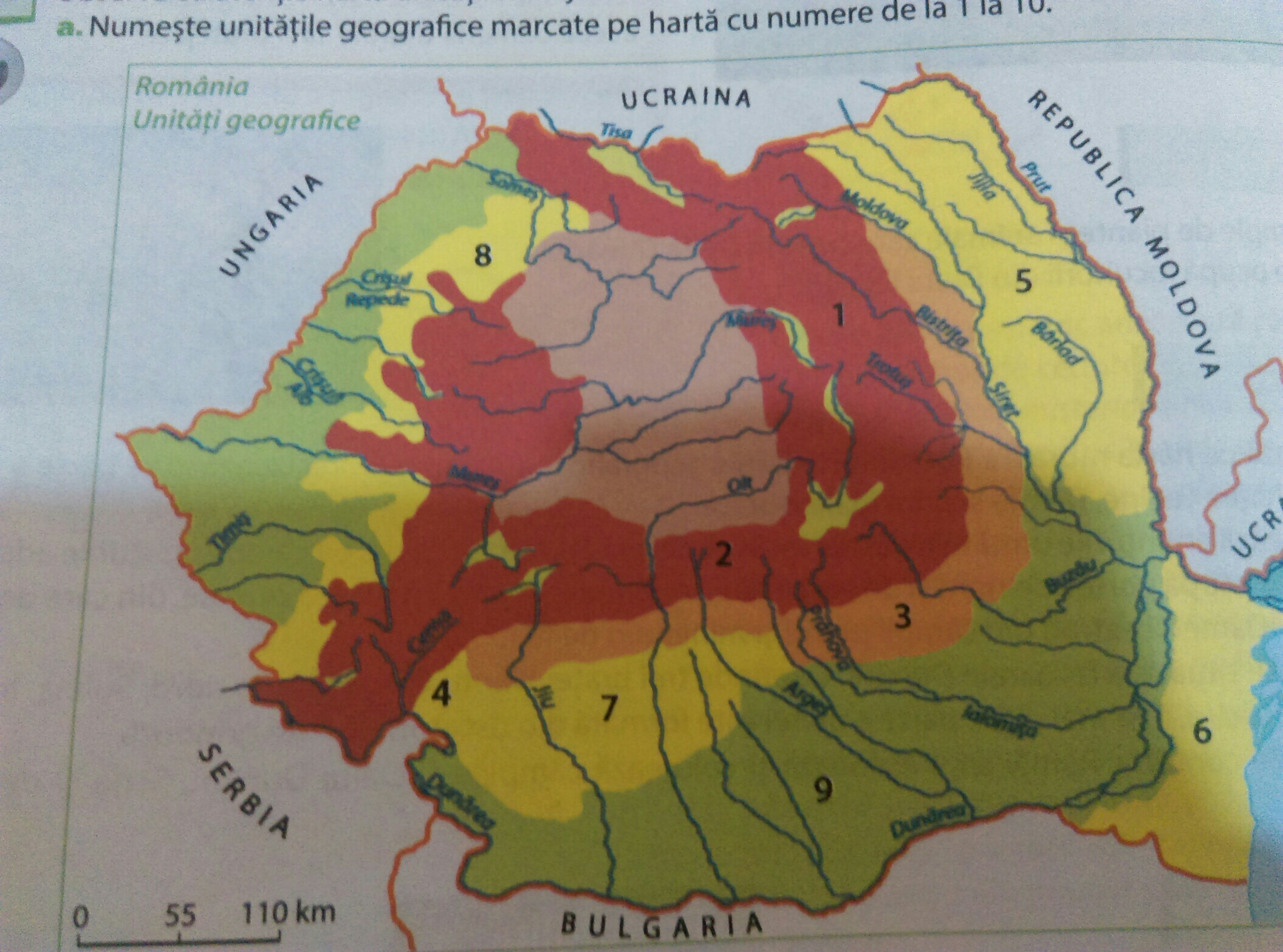 A Numeste Unitatile Geografice Marcate Pe Harta Cu Numere De La 1