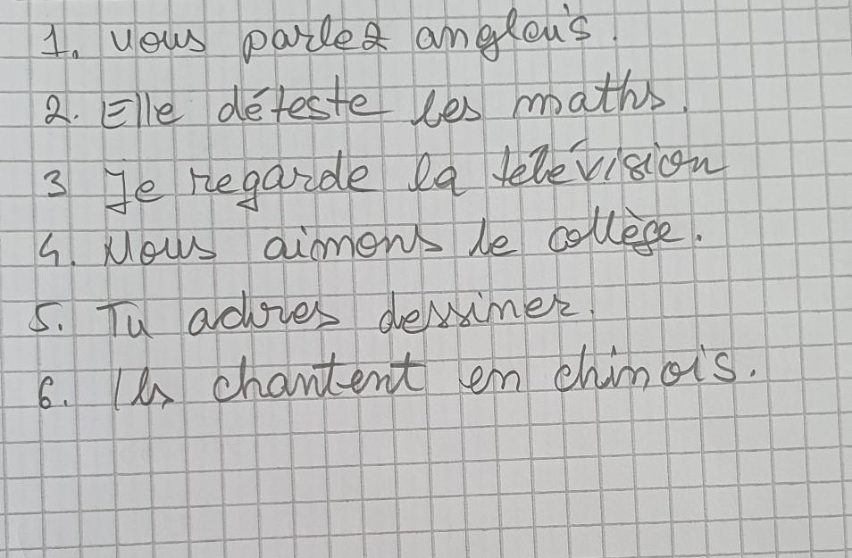 Conjugue Les Verbes A Vous Parler Anglais B Elle Detester Les Maths C Je Regarder La Brainly Ro
